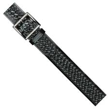 "Dutyman 1.75"" Black Belt, Basketweave, Silver Buckle"