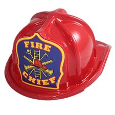 Helmet, Childs Red Plastic Fire Chief