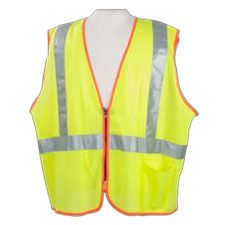 Safety Vest, ANSI Class 2 Mesh w/Zipper Front Lime
