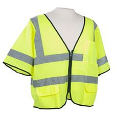 Safety Vest, ANSI Class 3 Mesh Zip Front 2 Pockets Lime