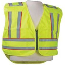 5PT Breakaway HiViz Vest, ANSI Lime/Yel Warp Knit,  Red Edge