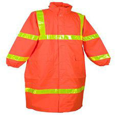 "Hi-Viz Rain Coat, 49"", Orange Class 3, ANSI 107, Lime Stripe"