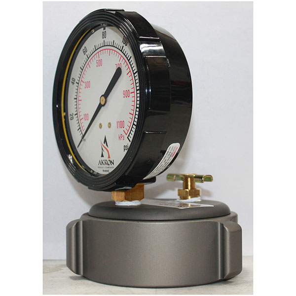 "Akron Cap Gauge, 2.5"" Bleeder, 0-160 PSI"