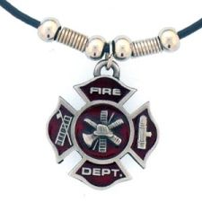 "Siskiyou Necklace, Fire Dept Maltese Cross with 22"" Rope"