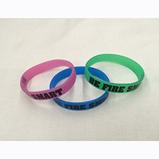 "Fire Safety Youth Wrist Band ""Be Fire Smart"" Green Glow"