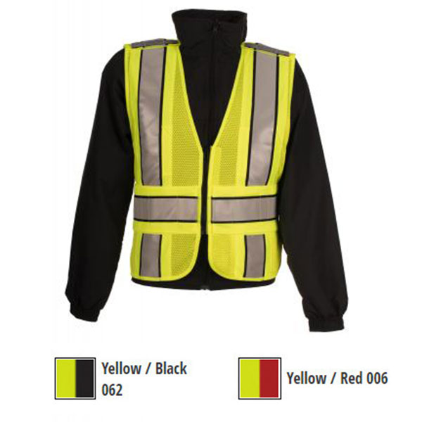 Spiewak Safety Vest, 5 Point Mesh, Lime Yellow, Red Trim