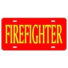 "Laser Magic Tag, Red w/ Gold Letters ""Firefighter"""