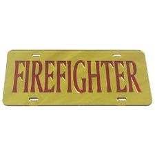 "Laser Magic Tag, ""Firefighter"" Gold w/ Red Letters"