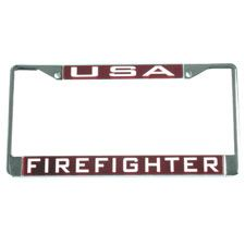 "Laser Magic Tag Frame, ""USA Firefighter"" Metal Red"